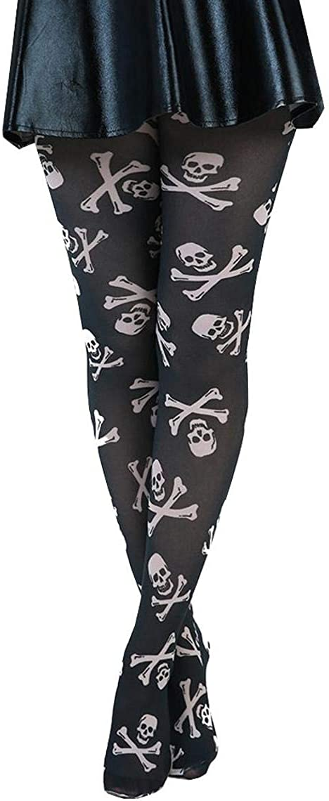 Black And White Skulls Tights For Women Malka Chic