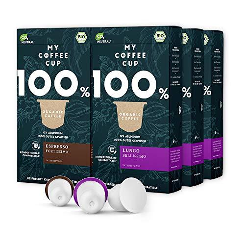 My Coffee Cup – KAFFEE-DUO-BOX: 60 KAPSELN BIO-KAFFEE I Kaffeekapseln für Nespresso®³-Kapselmaschinen I 100% industriell kompostierbare Kaffeekapseln – 0% Alu I Nachhaltige Kaffeekapseln