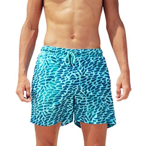 GreatestPAK Verfärbung Strand Shorts Herren Netzinnenschicht Sommer Kurze Pants Temperaturempfindlich Swim Trunks Badehose,Blau,S