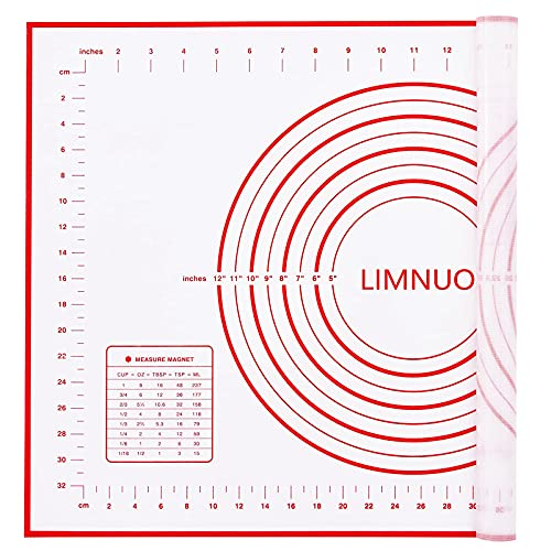 LIMNUO Silicone Pastry Mat Extra Thick Non Stick Baking Mat Non Stick Rolling Dough with Measurements-Non Slip,Reusable ,Counter Mat, Dough Rolling Mat, Oven Liner, Pie Crust Mat