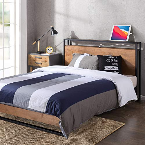 ZINUS Suzanne Metal and Wood Platform Bed Frame with Headboard Shelf and USB Ports / No Box Spring Needed / Wood Slat Support / Easy Assembly, King