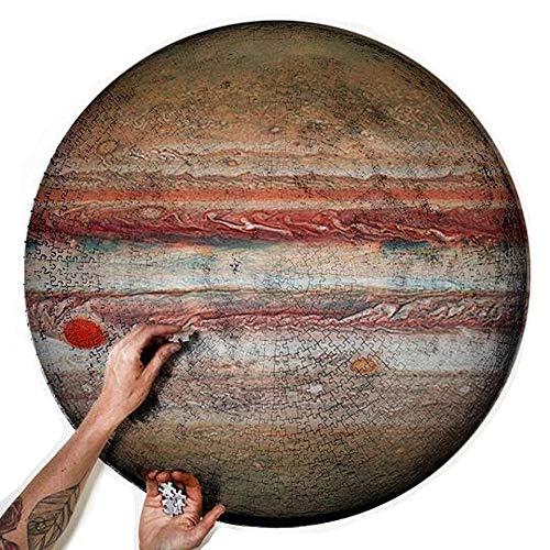 1000 piezas Planet Round Jigsaw Puzzle, rompecabezas educativo intelectual descomprimido juguete para niños adultos (Júpiter, 26.5 x 26.6 pulgadas)