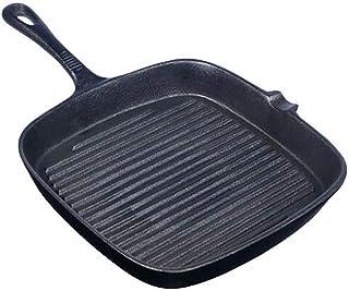 Sartén cuadrada de hierro fundido pretratada de color negro, con mango antiadherente para asar a