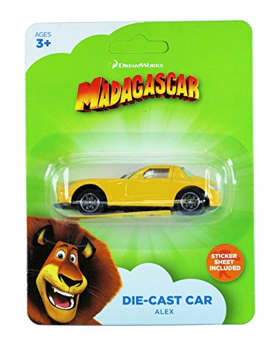Dreamworks 1/43 Size Die-Cast Model Car with Sticker Sheet - Madagascar Alex The Lion