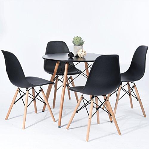 H.J WeDoo Ensembles de Meubles de Salle à Manger, Ronde Table de Salle à Manger en MDF avec 4 Moderne Scandinaves Noir Chaises