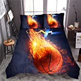 NTBED Basketball Comforter Set Queen for Boys Teens, 3-Pieces Sports Bedding Comforter 3D Fire Basketball Reversible Printed Quilt Set