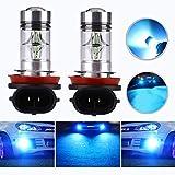 HOCOLO H8 H9 H11 H16(H16は日本車専用です!) 100W LEDフォグランプ用電球フォグドライビングライト8000KアイスブルーハイパワーLED電球自動車用照明器具(2個セット)(H8 / H11 / H9-100W、ライトブルー) [並行輸入品]