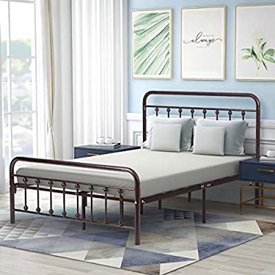 AUFANK Twin/Full/Queen Size Metal Platform Bed Frame with Vintage Headboard and Footboard No Box Spring Needed Premium Steel Slat Support Mattress Foundation Black/White/Bronze