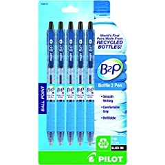 GO GREEN WITH B2P: Pilot's B2P Retractable Ball Point Pens are made from recycled bottles! They have a comfortable grip & are compatible with Dr. Grip ink refills, so you can sketch, journal, take notes or write a report - all while protecting the pl...
