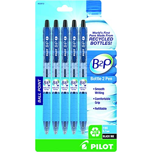 PILOT B2P - Bottle to Pen Refillable & Retractable Ball Point Pen Made From Recycled Bottles, Fine Point, Black Ink, 5-Pack (32612)