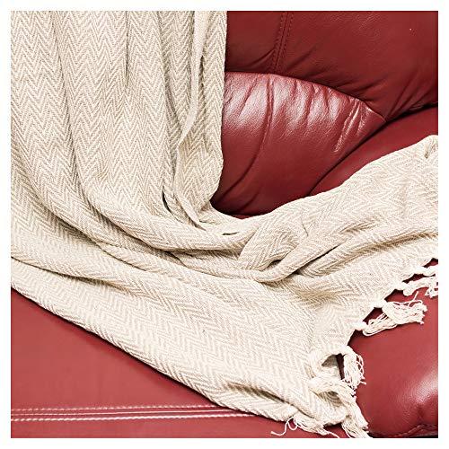 ETHNICITI Fair Trade Indiase gerecycled katoen geweven visgraat Chevron Sofa Settee fauteuil sprei franje deken gooi 125x150cm - chocolade