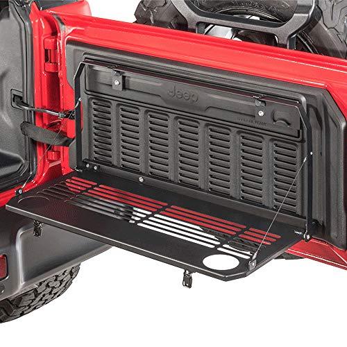 Bosmutus J-eep W-rangler JL Tailgate Table JL Rear Door Table Storage Cargo Shelf Rack Aluminum Alloy Matte Black Rear Foldable Back Shelf fit for J-eep W-rangler JL JLU (Instruction Include) (black4)