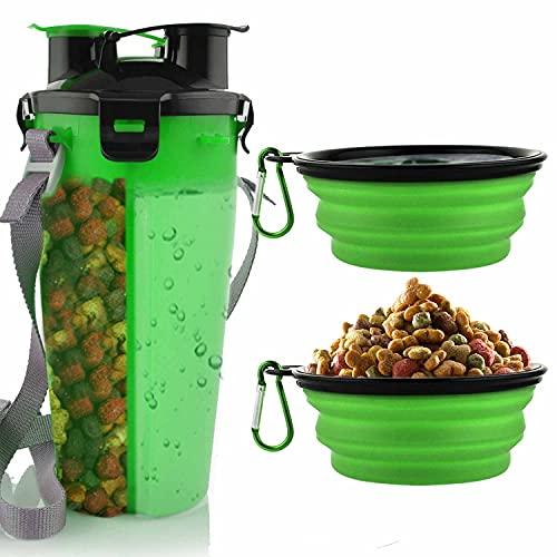 MATT SAGA Botella de Agua para Perros Portatil Envase de Comida para Perros con 2 Plegable Tazones para Perros Gatos Mascotas Adecuado para al Aire Libre Caminar Viajar (Verde)