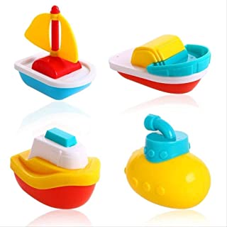 Zpong 4Pcs Set Funny Baby Bathroom Toys Children Bathing Boats Gift Cute Water Toys for Babys Gift Bathroom Accessories Ji...