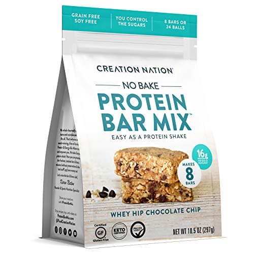 KETO PROTEIN BAR MIX, No-bake & easy as a protein shake! Makes 24 PROTEIN BALLS / 8 BARS. Perfect Snack for Keto, Paleo Friendly, Gluten & Grain Free, Kids & Adults. (Whey Hip Chocolate Chip Cookie)