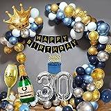 30 Años Decoracion Cumpleaños Hombres, Decoraciones Fiesta Oro Azul con 30 Globos Papel Aluminio, Pancarta Feliz Cumpleaños, Globos Cazul Marino Dorado Plateado para Cumpleaños 30 Años Hombres