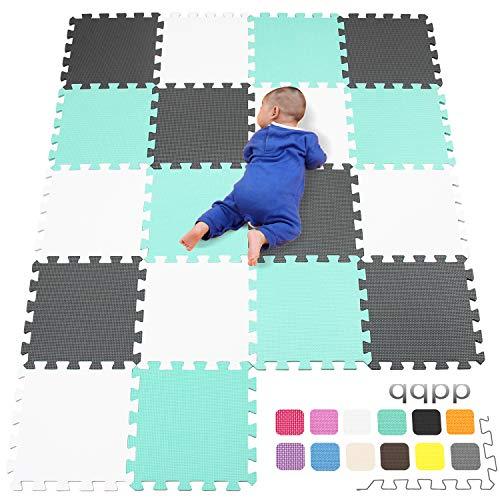 qqpp Alfombra Puzzle para Niños Bebe Infantil - Suelo de Goma EVA Suave. 18 Piezas (30*30*1cm), Blanco,Verde,Gris. QQC-AHLb18N