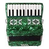 22 Teclas 8 Bajo Acordeón De Piano Profesional Instrumento Musical con Correa Guantes Paño De Limpieza para Principiantes Amante De La Música - Verde