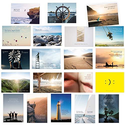 20er Postkarten Set zum Thema MOTIVATION mit Sprüchen und Zitaten – Jede Postkarte ein Spruch oder Zitat
