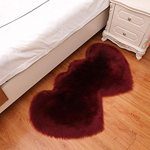 WEIDD Peau de Mouton synthétique,Cozy Sensation comme véritable Laine Tapis en Fourrure synthétique, Man-Made Laine Tapis de Canapé Coussin ,vin Rouge 35 cm * 70 cm