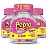 Pepto Bismol Chewables, 3 Boxes of 24 Tablets, for Relief of Gas, Anti Diarrhea, Heartburn, Nausea, Upset Stomach, and Indigestion (72 Chews Total)