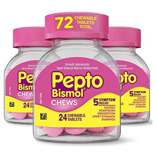 Pepto Bismol Chews, 72 Chewable Tablets for Nausea, Heartburn, Indigestion, Upset Stomach, Diarrhea Relief (3 Packs of 24 Tablets)