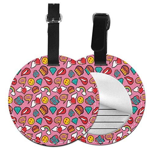 Top-T Dotted Hearts Background with Rainbow Love Woman Lips Pop Art Style Stitch Pattern,Leather Baggage Tag