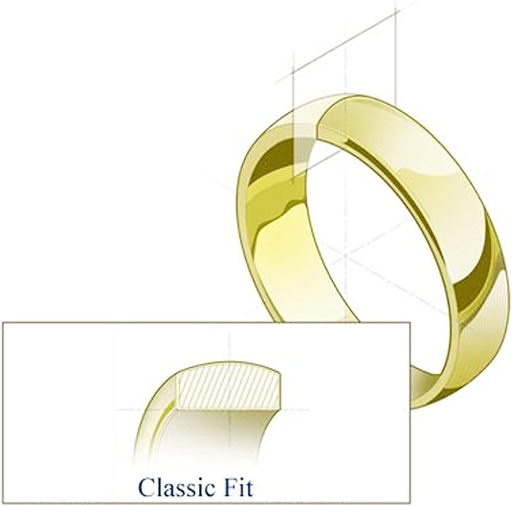 Wellingsale Mens 14k Yellow -OR- White Gold Solid 8mm CLASSIC FIT Traditional Wedding Band Ring