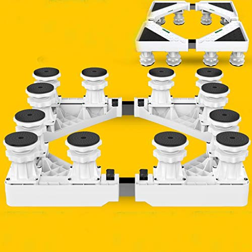 Lxrzls Gerätesockel Verstellbarer Gerätesockel Waschmaschine Trayhalterung for Kühlschrank Stoßdämpferhalterung (Color : White)