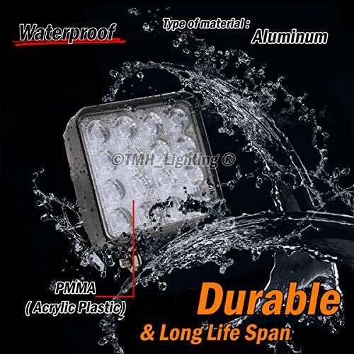 (Pack of 10) TMH 48w Square Shape 60 Degree LED Work Light Flood Lamp Driving Light, ATV, Off-road, 4wd, 4x4, Utv, Sand Rail, Van, Suv, Motorbike, Motorcycle, Bike, Dirt Bike, Bus, Trailer, Truck