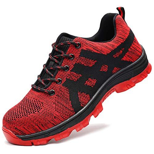 Koyike Zapatos de Seguridad para Trabajo con Gorra de Acero para Hombres, Zapatos de Trekking antipinchazos, Zapatos de Senderismo de protección ultraligeros y Transpirables,Red-44