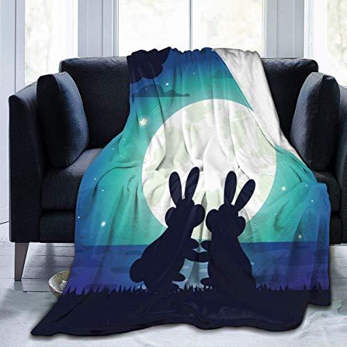 Darlene Ackerman(n) Fleece Plüsch Decke Decke Tröster Silhouette der Nachthimmel Hasen Tier Kunstpelz Flauschige leichte Decke
