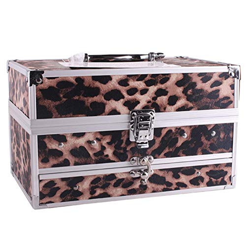 YHJGKO Großer Platz Make-up-Fall-Kasten, Dreischicht Aluminium Box, Multifunktions kosmetischer Fall für Pro Makeup/Nail Art/Travel/Storage