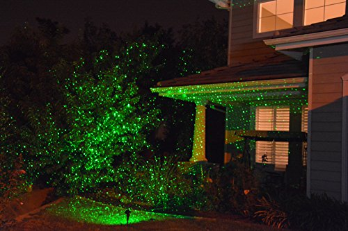 Blisslights 2 Lights in One a Green Laser & a 16 Color LED Hi Quality Commercial Grade with Wireless Remote, Automatic Timer, Stand, Stake & Thousands of Firefly Pinpoints