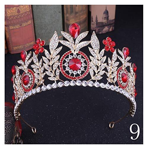 XMCF Diademe für Damen Rote Kristall Braut Tiaras Hochzeitskrone für Braut Festzug Stirnbänder Hochzeit Haarschmuck Prinzessin Diadem Braut Tiara (Color : 9)