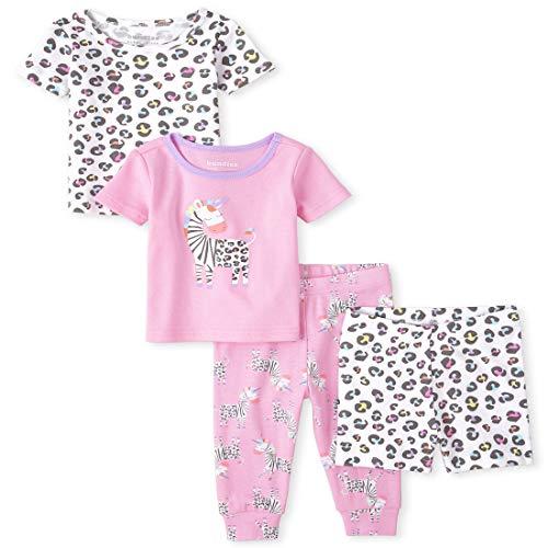 The Children's Place - Pijama de algodón de 4 piezas para bebés y niños pequeños, Pijama de algodón de 4 piezas para bebé y niña pequeña con diseño de cebra, 5T, Rosado brillante