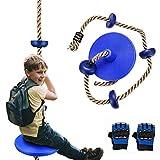 Balançoire d'escalade d'arbre avec plate-forme pour enfants, corde d'escalade de balançoire à disque suspendue en plein air, avec une paire de gants