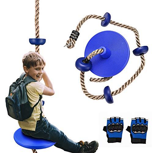 Cuerda de escalada para niños y columpio, 4YANG Columpio con plataforma para niños para colgar en el exterior con forma de árbol, columpio, cuerda de escalada con guantes.