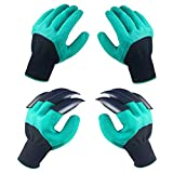 Garden Genie Gloves with Claws, 2 Pairs Green Waterproof Garden Gloves For Digging Planting, Best Gardening Gloves for Gardener (Men or Women)…