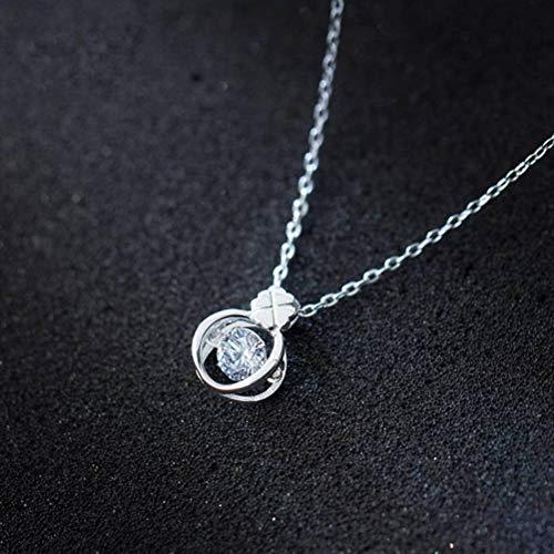 WOZUIMEI S925 Collar de Flores de Plata Femenina Flor de Diamante Coreano Dulce Cadena de Clavícula Joyería de Plata Femeninacollar
