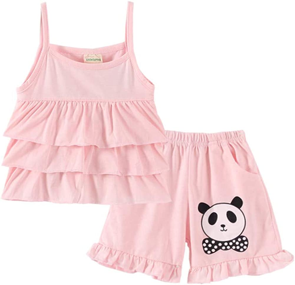 LittleSpring Baby Toddler Girls safety Summer Set Clothes Ruffle Strap Year-end annual account