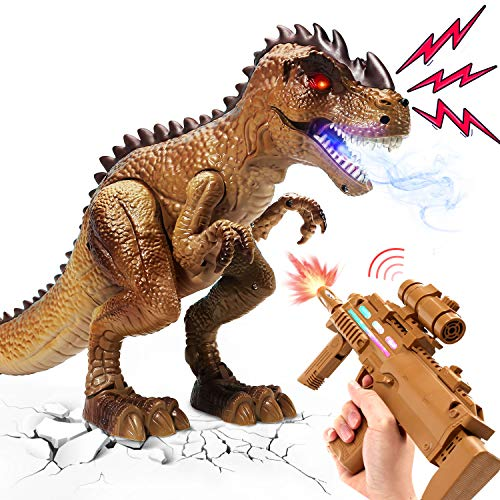 Remote Control Dinosaur Toys for Kids, RC T Rex React to Shooting,...