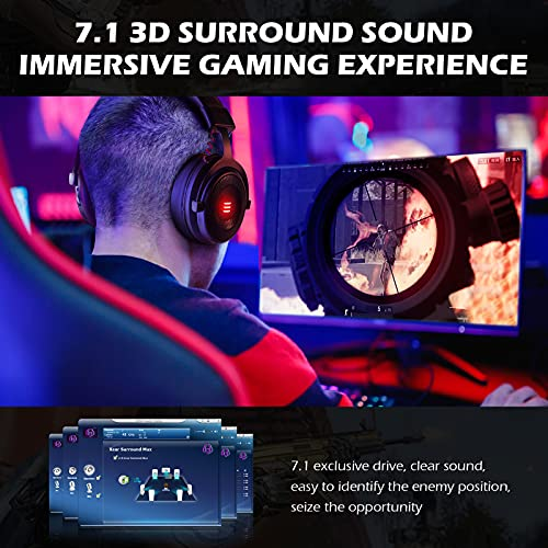 EKSA E900 Pro Gaming Headset Xbox One Headset with 7.1 Surround Sound, PS4 Headset Noise Cancelling Over Ear Headphones with Mic&LED Light, Compatible with PC, PS4, Xbox One Controller, Nintendo Switch [xbox_one,windows,playstation_4]…