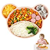 Ballery Assiette Ventouse pour Bébé, Assiette Bebe Silicone Antidérapante Bol Bebe Ventouse Vaisselle Silicone avec Compartiments Approuvé au Lave-vaisselle et au Micro-ondes (Rose)