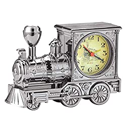 Collections Etc Retro Silver-Toned Train Desk Clock - Old-Fashioned Tabletop Decoration for Any Room