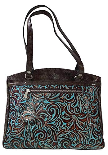 PATRICIA NASH WOMEN'S TOOLED TURQUOISE COLLECTION POPPY LEATHER TOTE HANDBAG PURSE