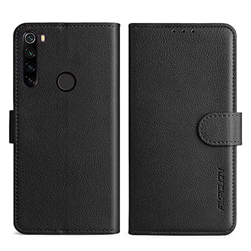 FMPCUON Handyhülle Kompatibel mit Xiaomi Redmi Note 8T Hülle Leder PU Leder Tasche,Flip Hülle Lederhülle Handyhülle Etui Handytasche Schutzhülle für Redmi Note 8T,Schwarz