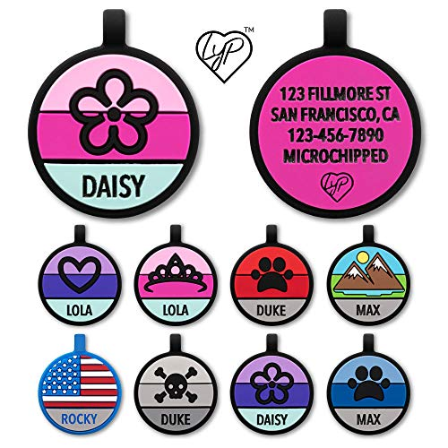 Love Your Pets Soundless Pet Tag - Designer Deep Engraved Silicone – Double Sided and Engraving Will Last - Many Design Choices of Pet ID Tags, Dog Tags, Cat Tags (Hot Pink, Flower)