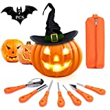 KIPIDA Halloween Pumpkin Carving Kit, 7 Pieces Professional Pumpkin Carving Tools Set Heavy Duty Stainless Steel Pumpkin Carving Knife for Halloween Decoration, Easily Sculpting with Carrying Case