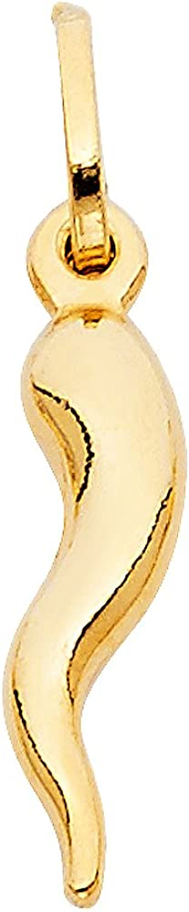 14k Yellow Gold Cornicello Italian Horn Charm Pendant service Max 59% OFF Differ - 4
